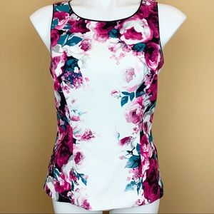 WHBM floral tank sheath top rose roses